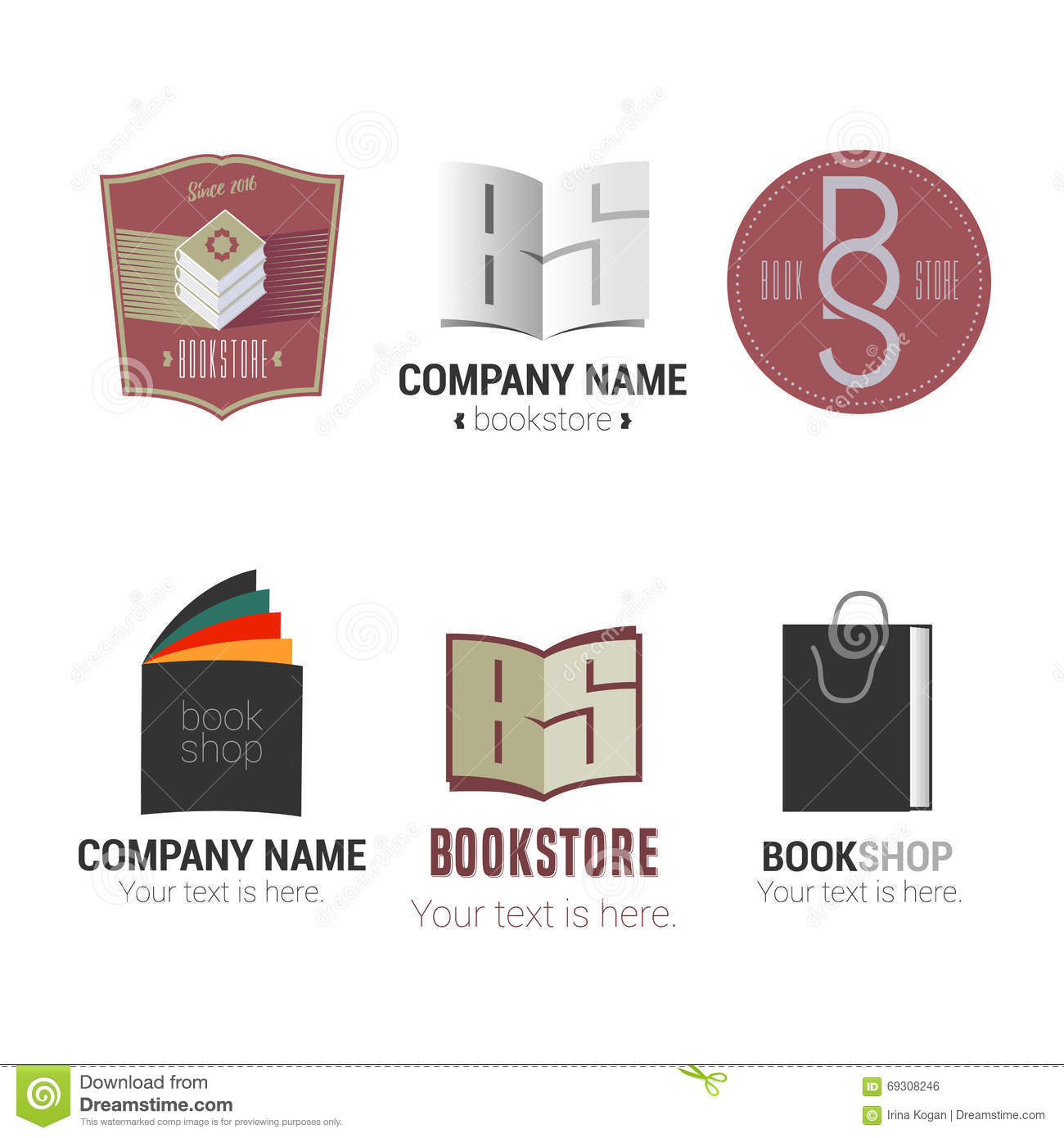 Book logos stock vector image 42714029 - Set Of Bookstore Or Library Vector Logos Royalty Free Stock Image