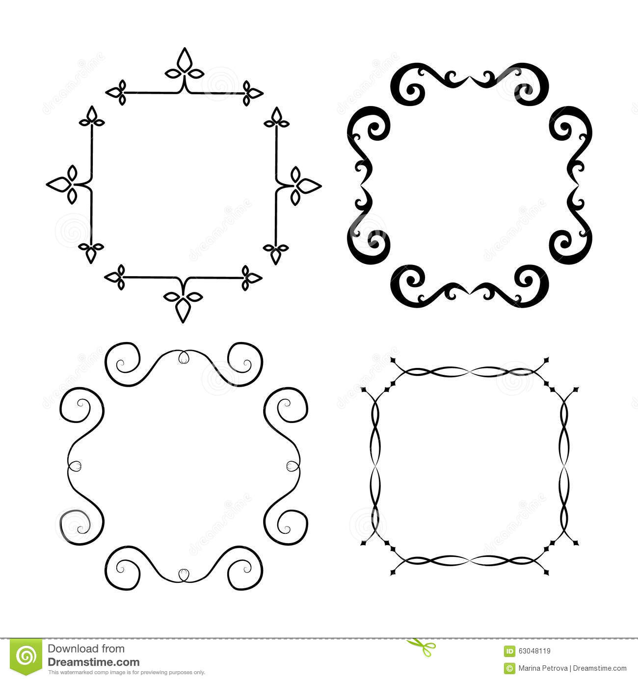 Set of borders can be used for monograms greeting cards stock set of borders can be used for monograms greeting cards m4hsunfo