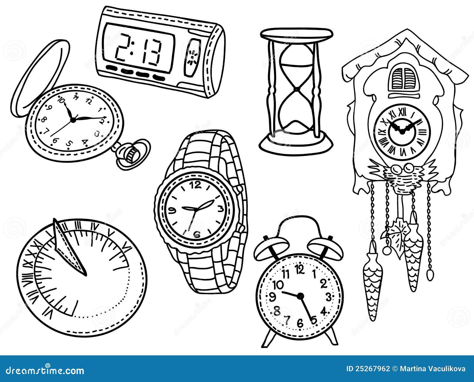 Armbanduhr gezeichnet  Set Borduhren Und Armbanduhren Stockfotografie - Bild: 25267962