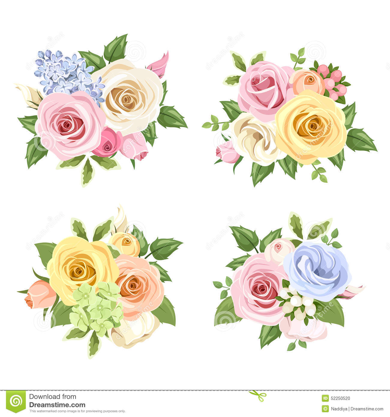 Set Of Bouquets Of Colorful Roses And Lisianthus Flowers