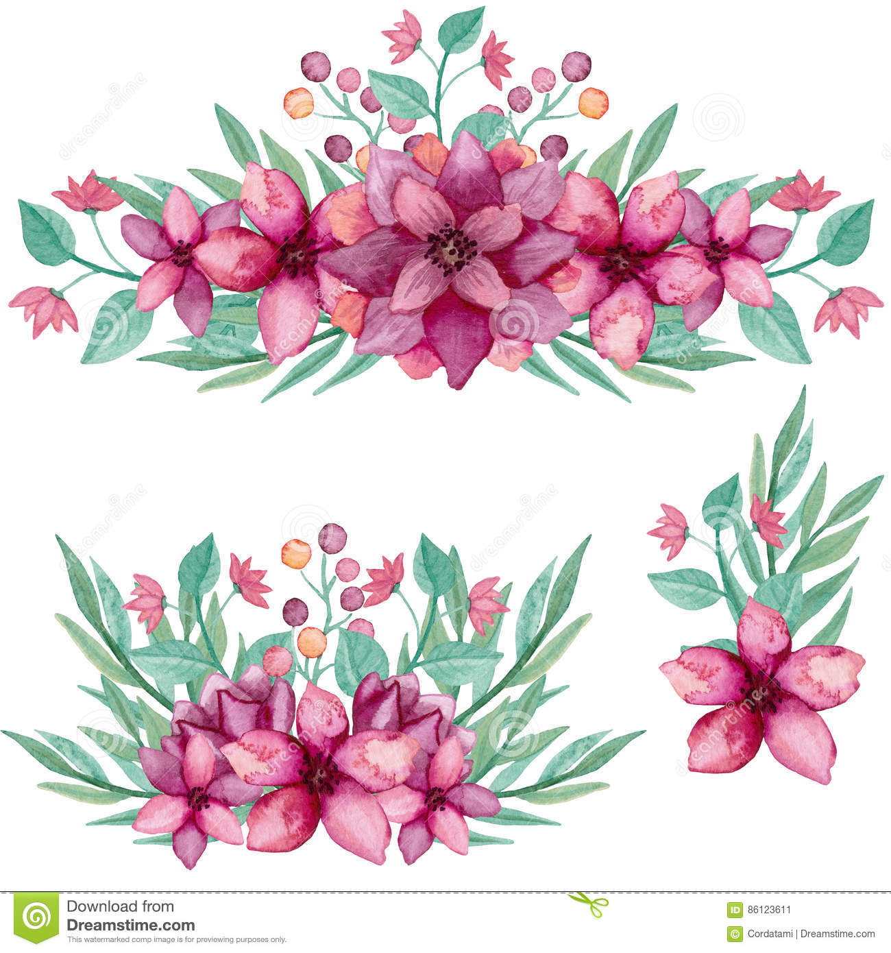 Set of bouquets with watercolor deep pink flowers and leaves stock set of bouquets with watercolor deep pink flowers and leaves mightylinksfo