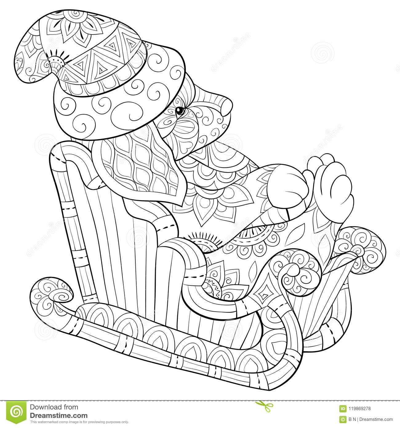 Adult Coloring Book Page A Christmas Dog On The Sleigh With