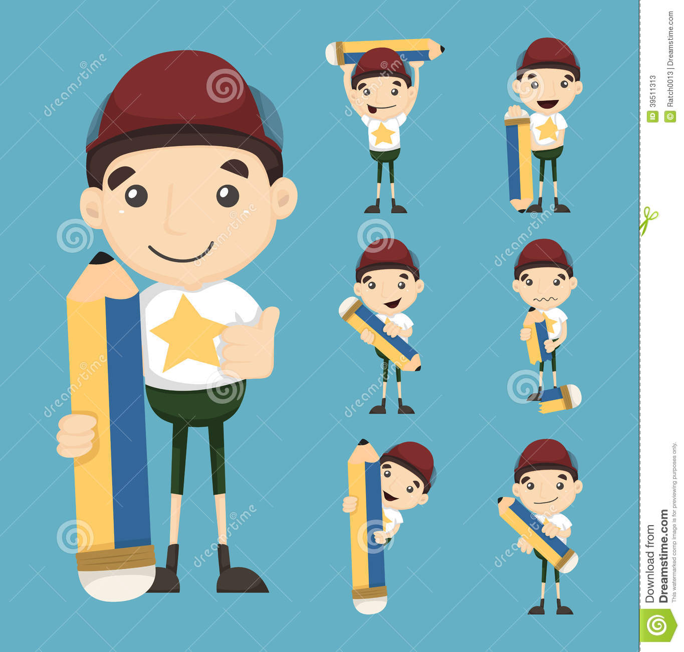 Download Set of boy and pencil stock vector. Illustration of illustration - 39511313