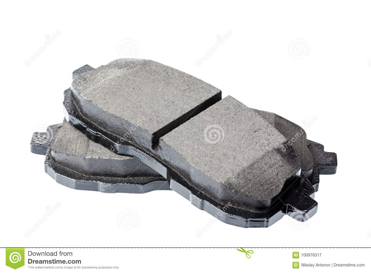 Set of brake pads, car spares isolated on white