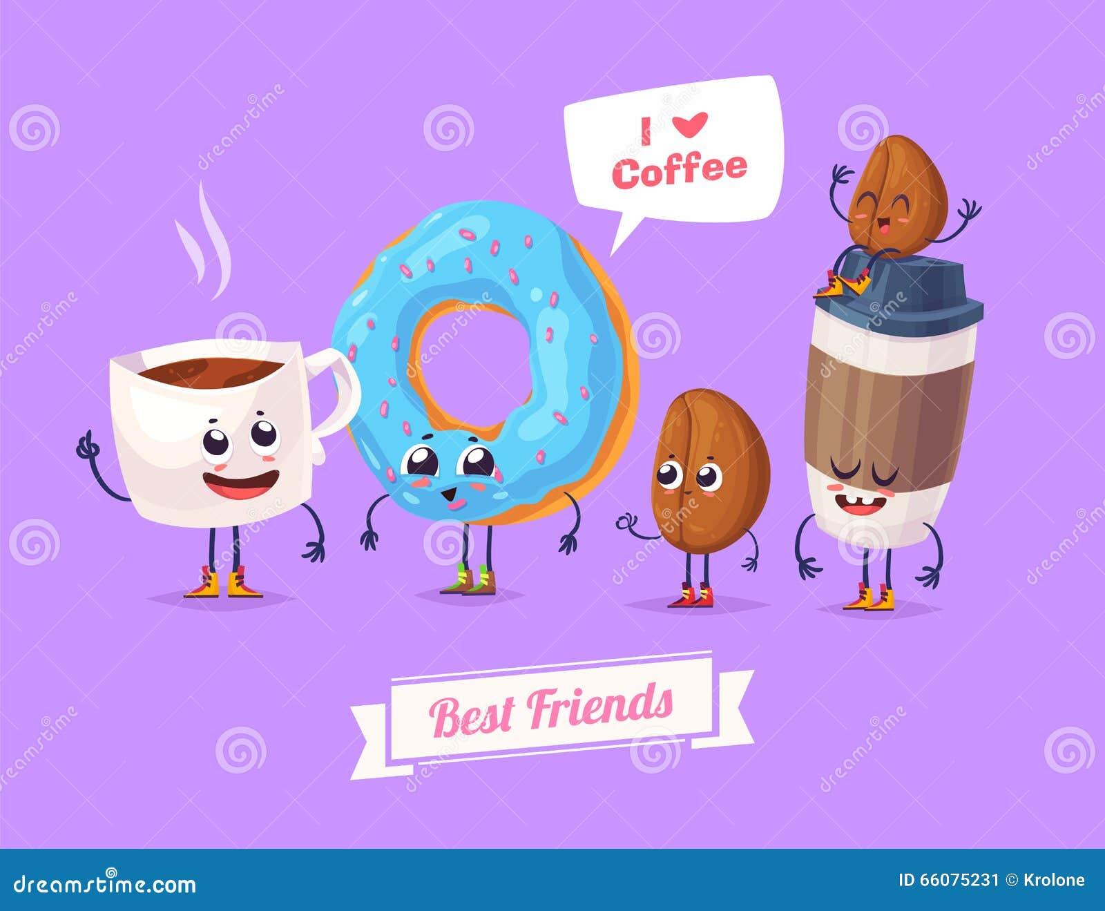 Set Of Breakfast Characters. Vector Cute Cartoons Stock ...