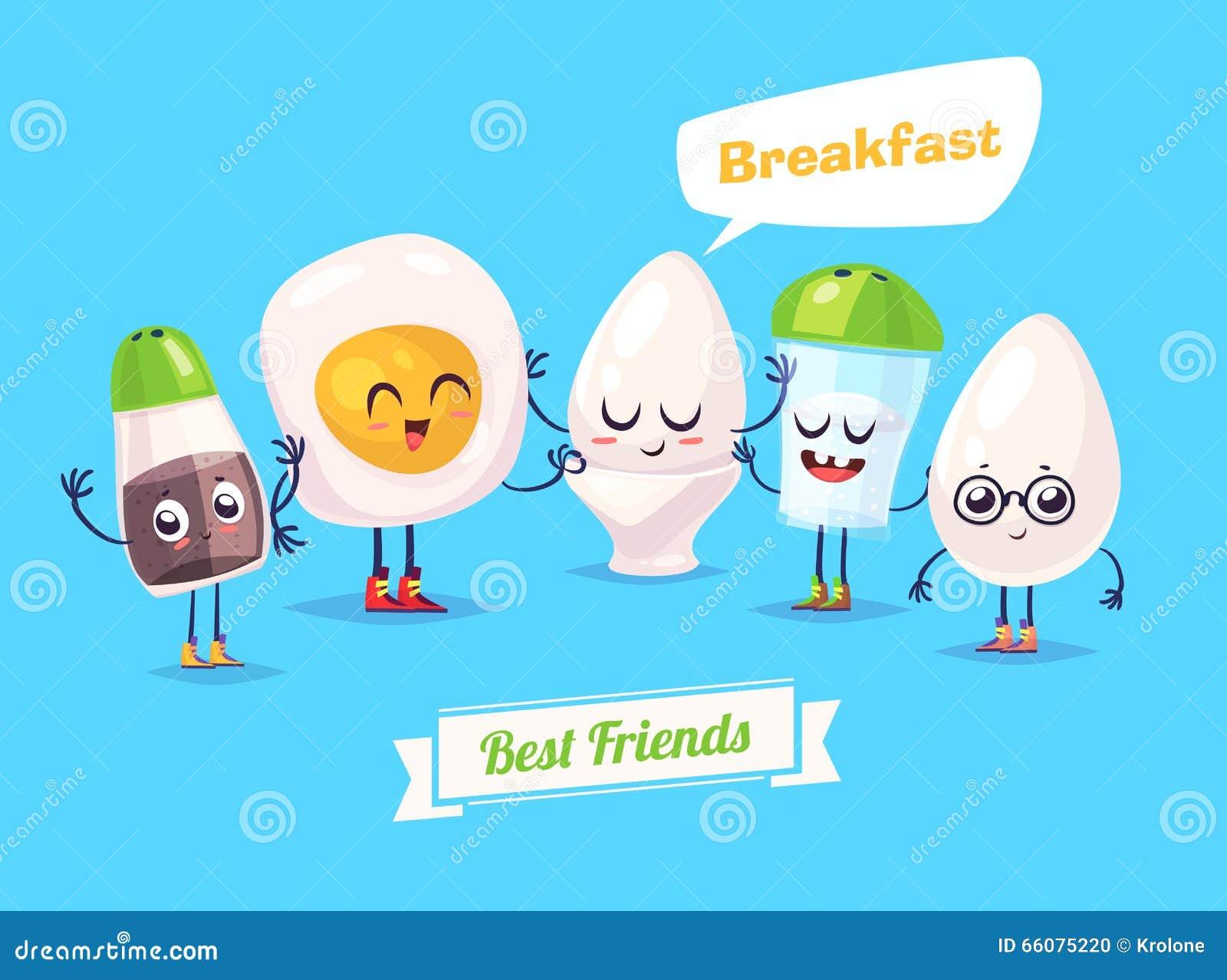 Stock Illustration Set Breakfast Characters Vector Cute Cartoons Healt...