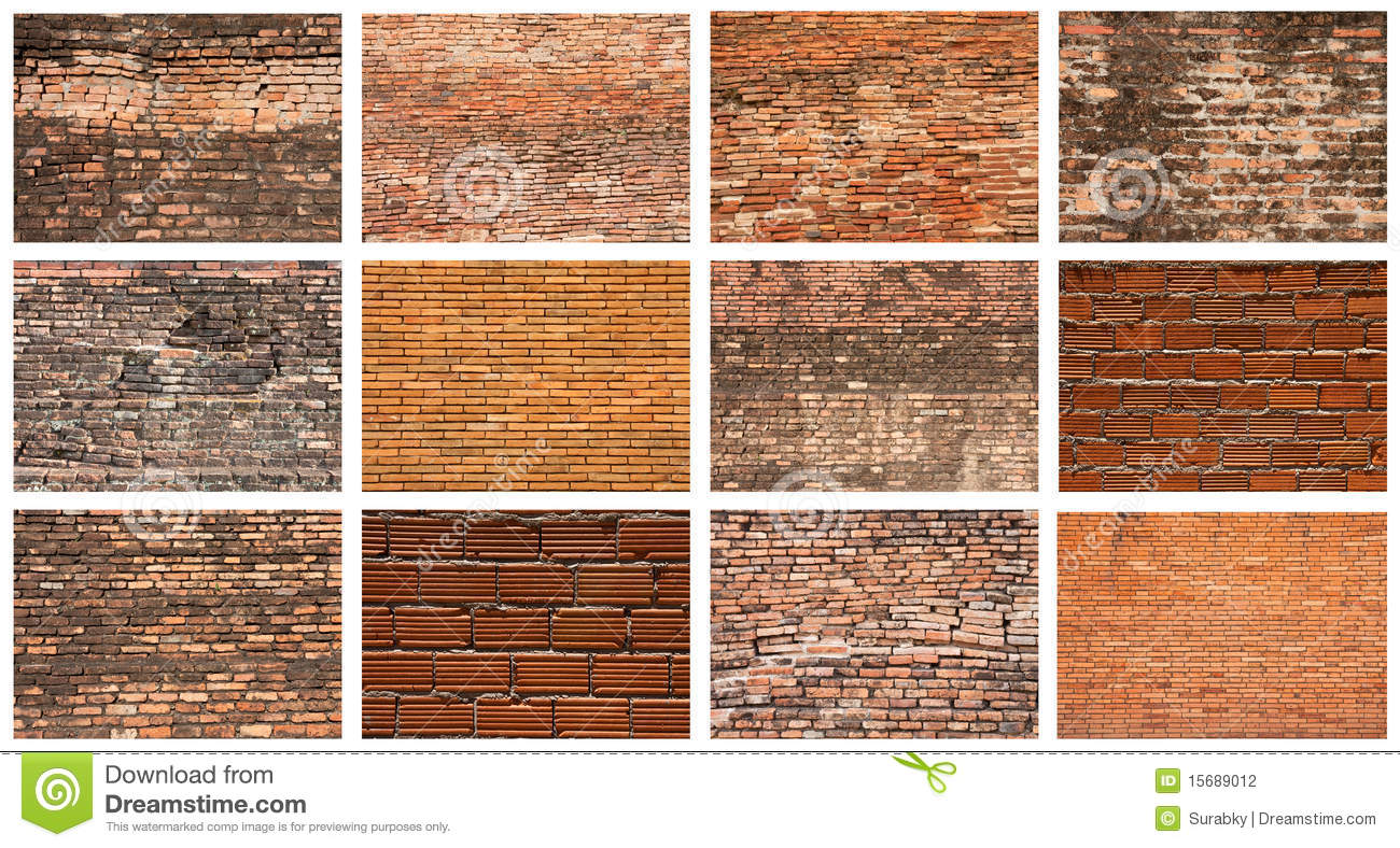 Set of brick wall stock photography image 15689012 for Brick types and styles