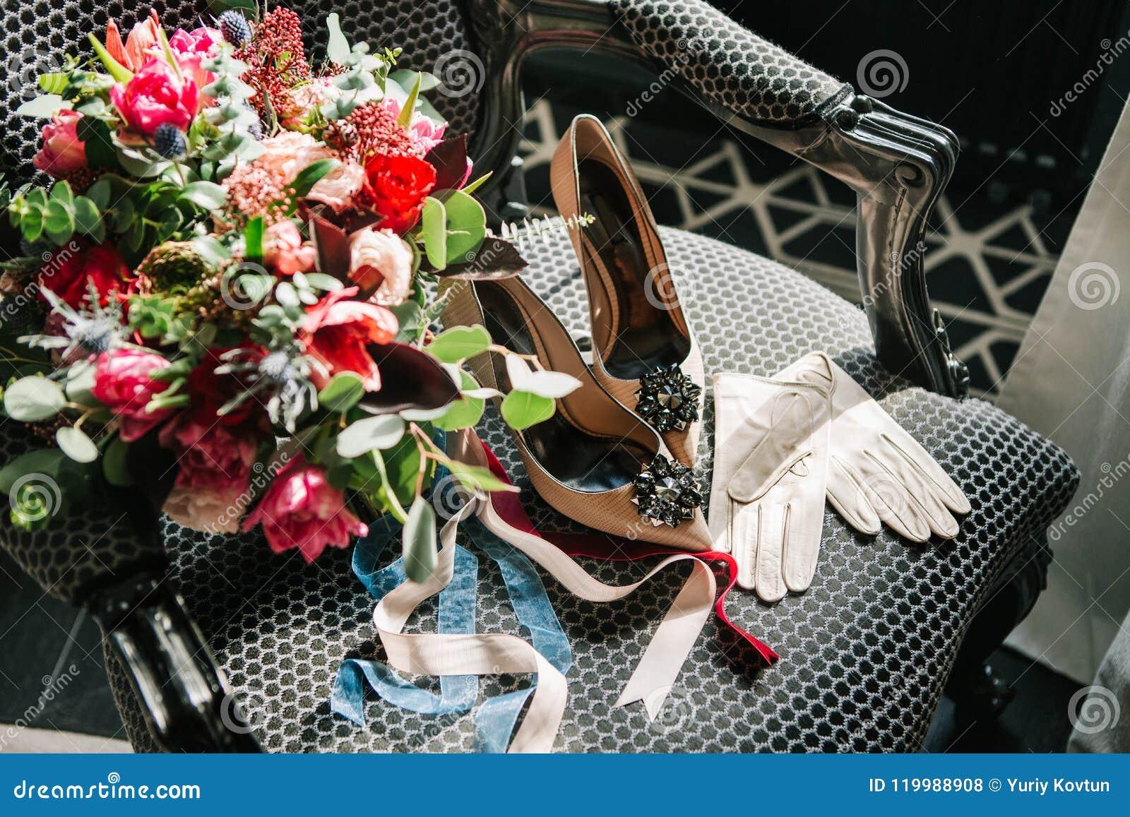 Set Bride Accessories Wedding Beautiful Armchair Stock ...