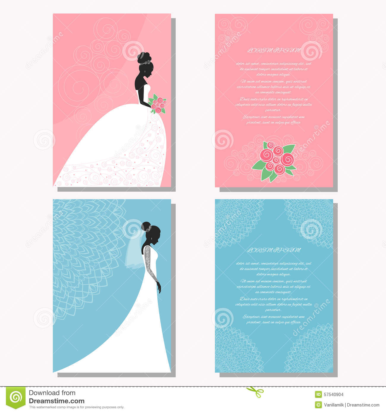 set with bride silhouette for use in design for wedding card poster banner