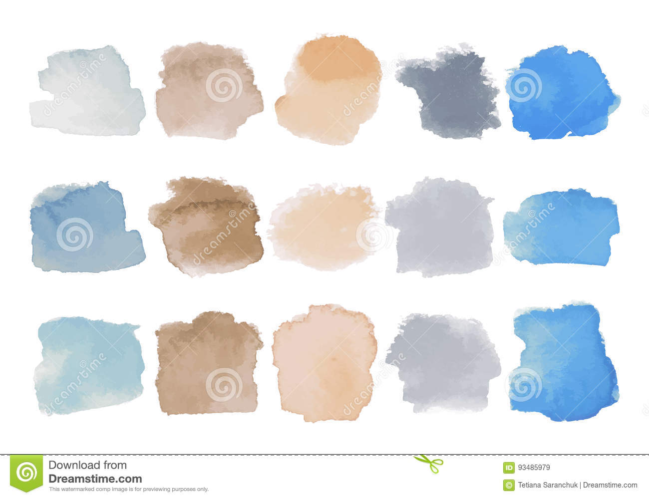 Set of bright multicolored watercolor stains