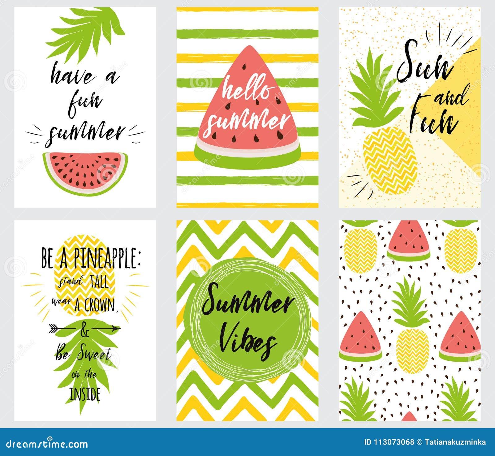 Set Of Bright Summer Banner Summer Quotes Fresh Fruit Vector ...