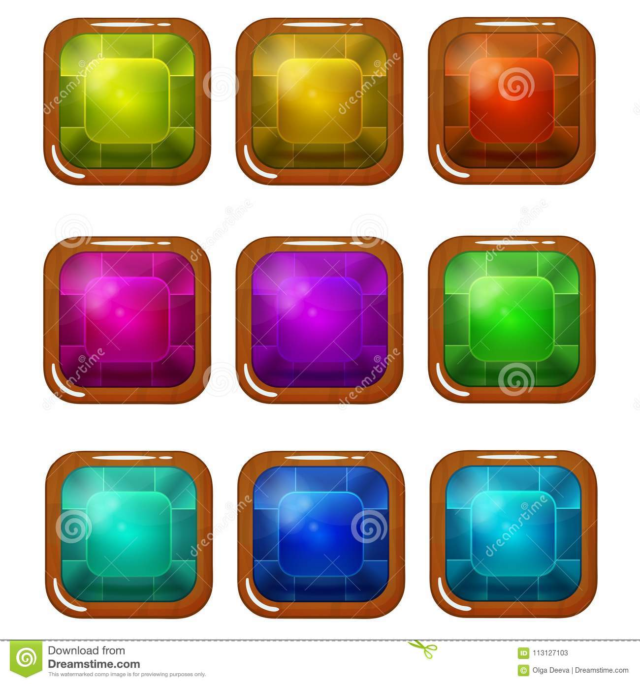 Set Of Bright Wooden-Plated Glossy Square Buttons Stock
