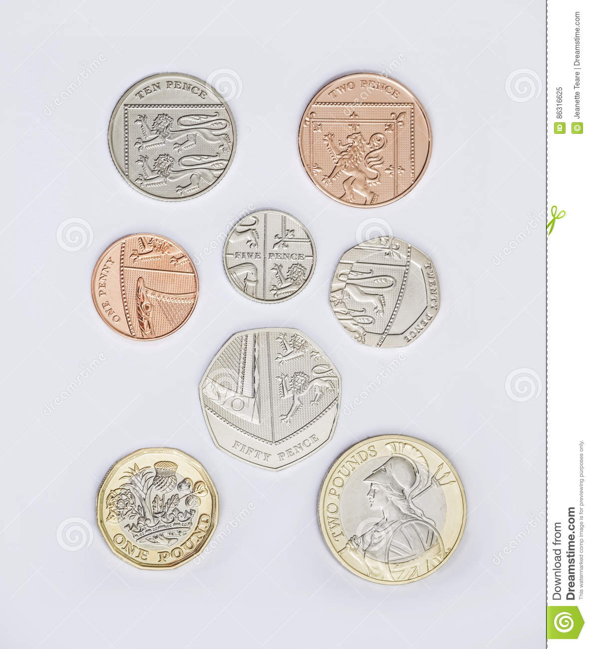 Set of british coins with the 2017 new pound coin design