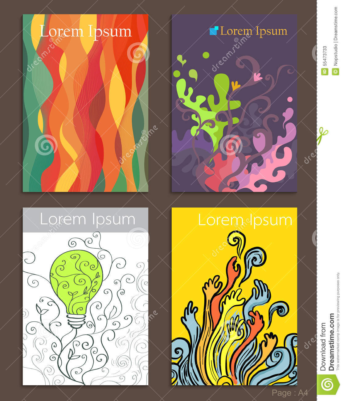 Set of brochure design abstract art stock vector for Art brochure templates free