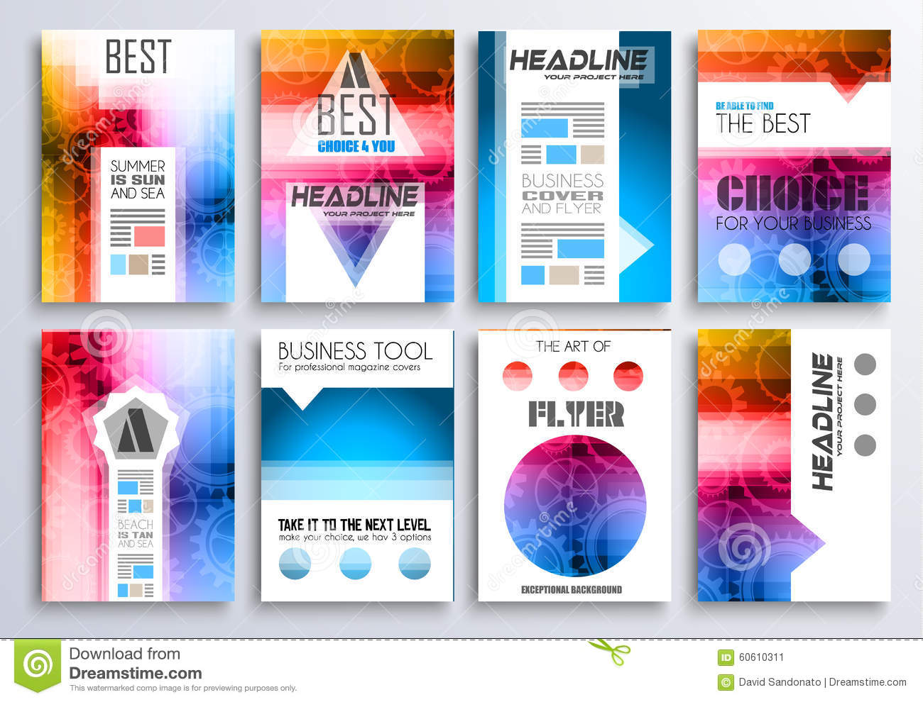 set of brochure flyers and layout templates for you projects
