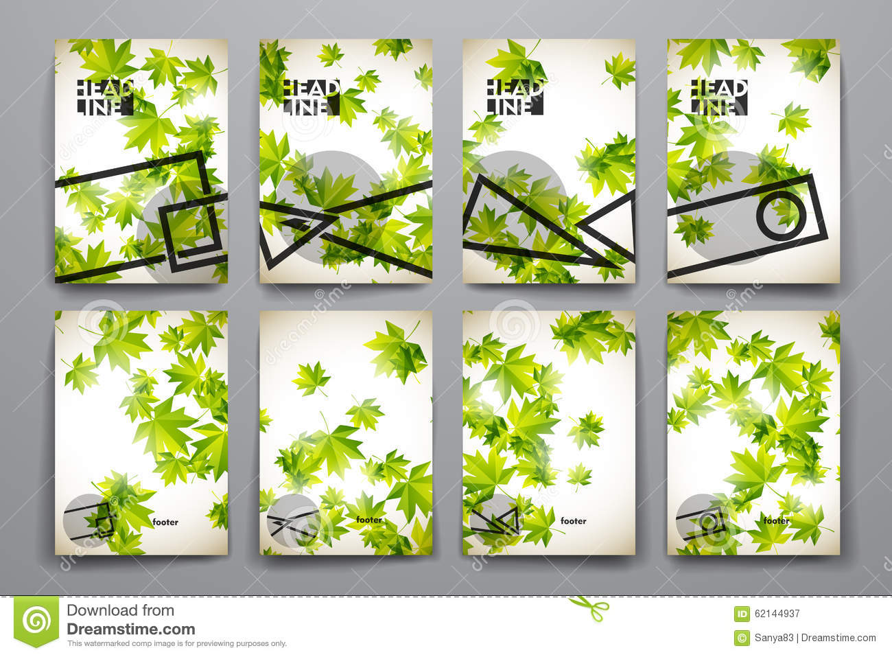 Set of brochure, poster templates in autumn style. Beautiful design.