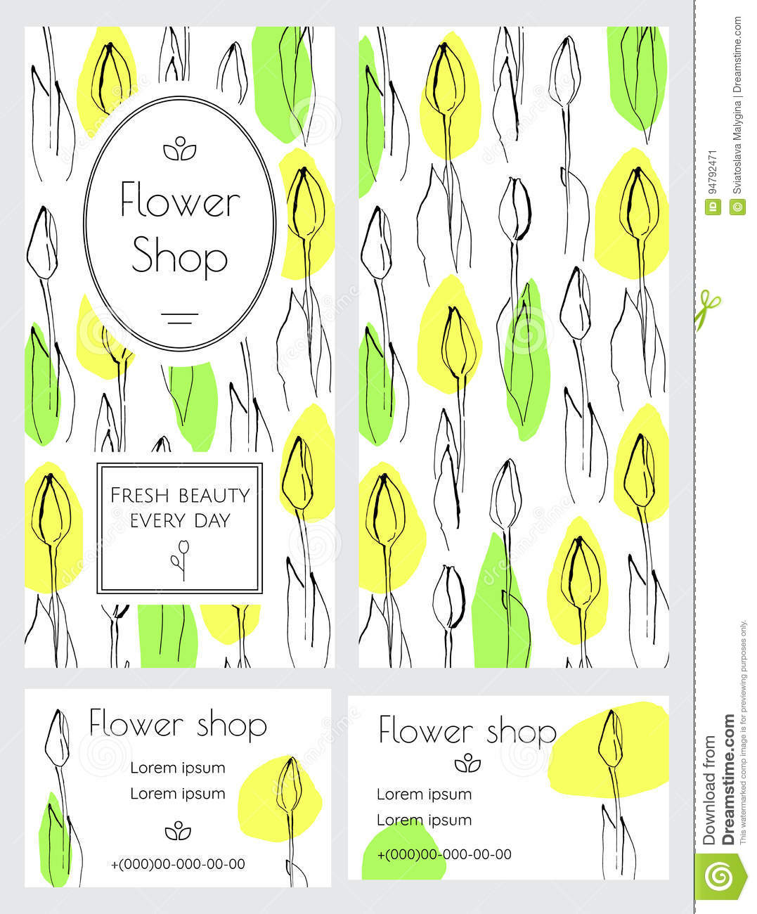 A set of brochures and business cards for a flower shop