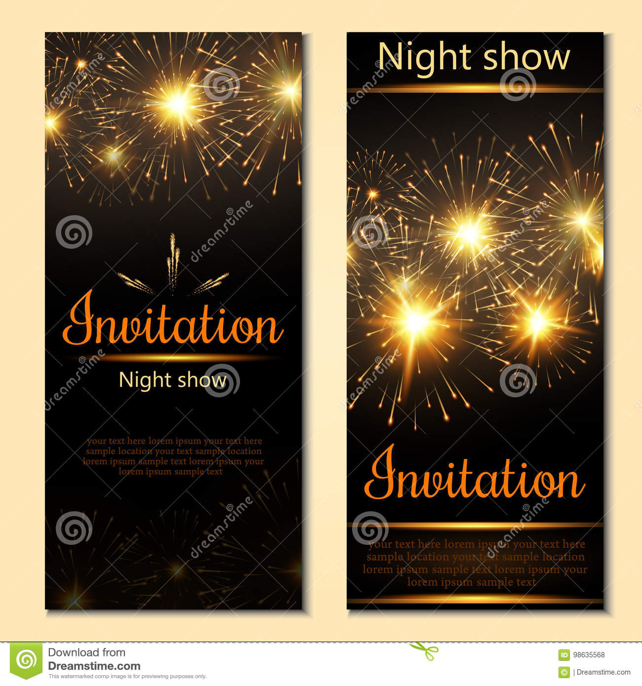 A Set Of 2 Brochures Of Festive Design Invitation Card
