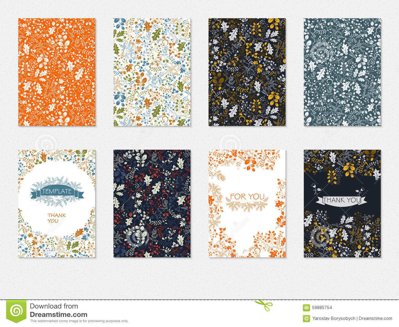 Set Of Brochures Templates With Floral Pattern Cards Blanks Flyers