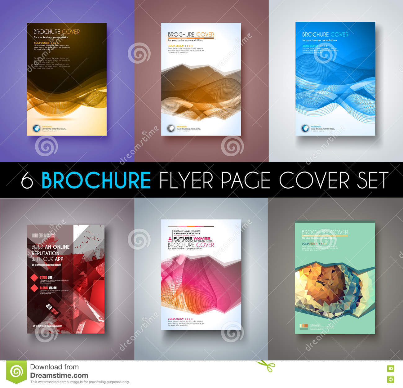 Set Of 6 Brochures Templates Flyer Designs Or Depliant Covers For