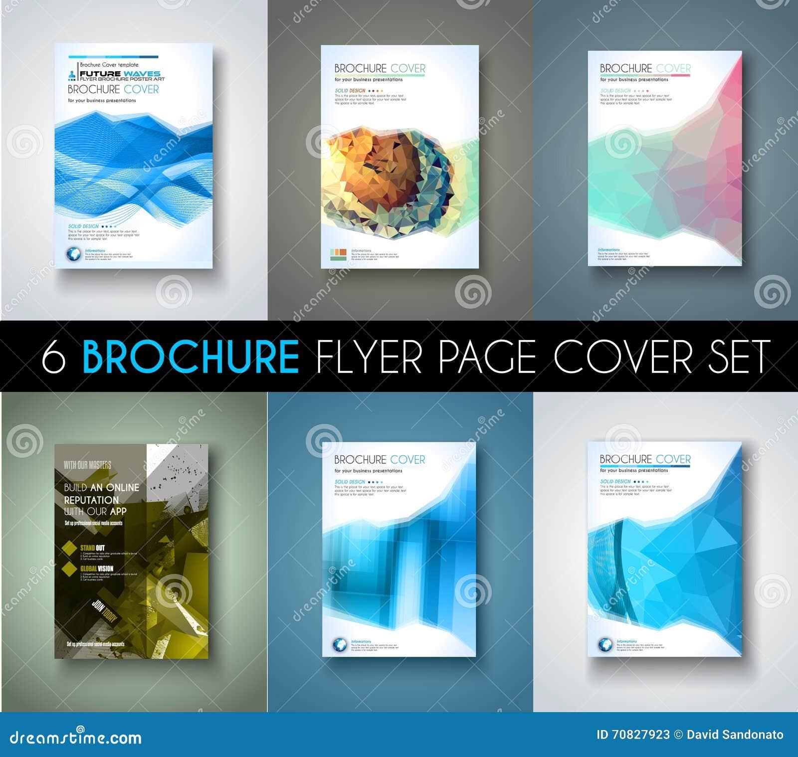 Set of 6 brochures templates flyer designs or depliant covers for download set of 6 brochures templates flyer designs or depliant covers for business stock vector wajeb Choice Image