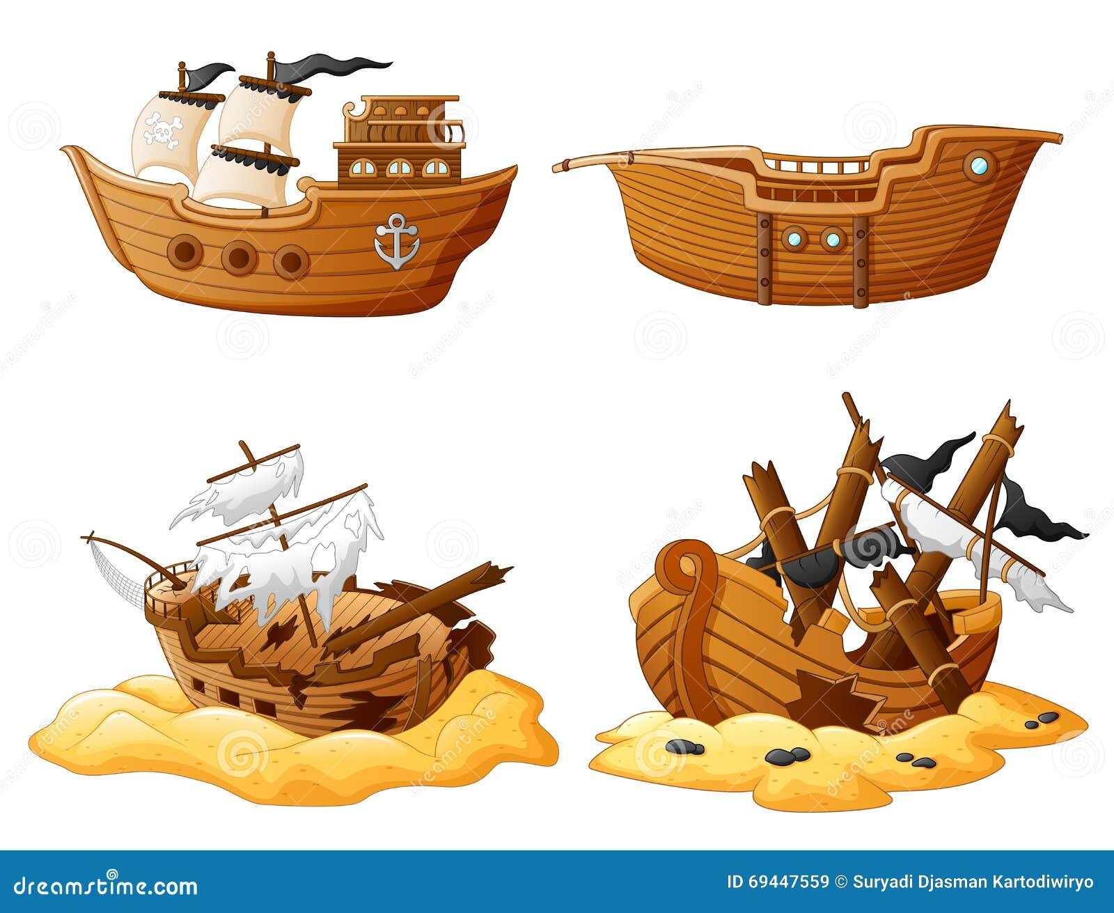 Set Of Broken Pirate Ship Stock Vector Image 69447559