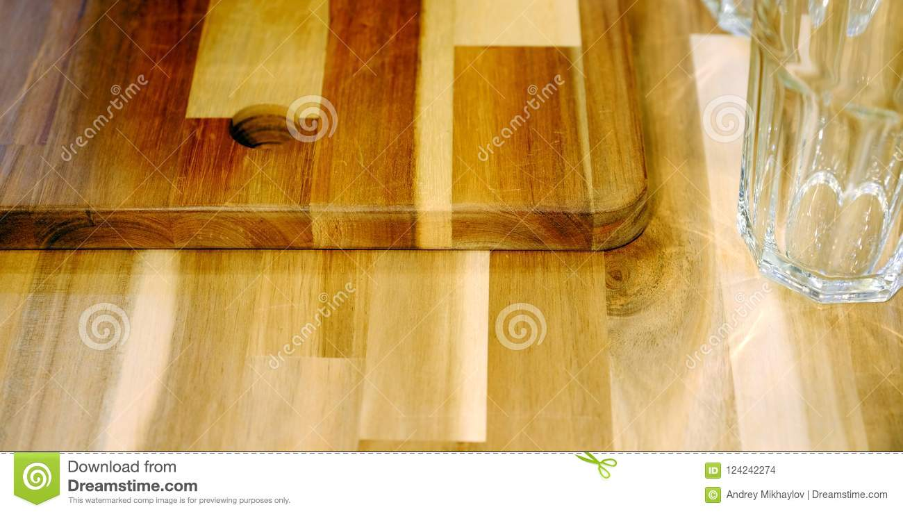 Set Of Brown Cutting Board For Kitchen On The Shelf Against The Wall Stock Photo Image Of Empty Board 124242274