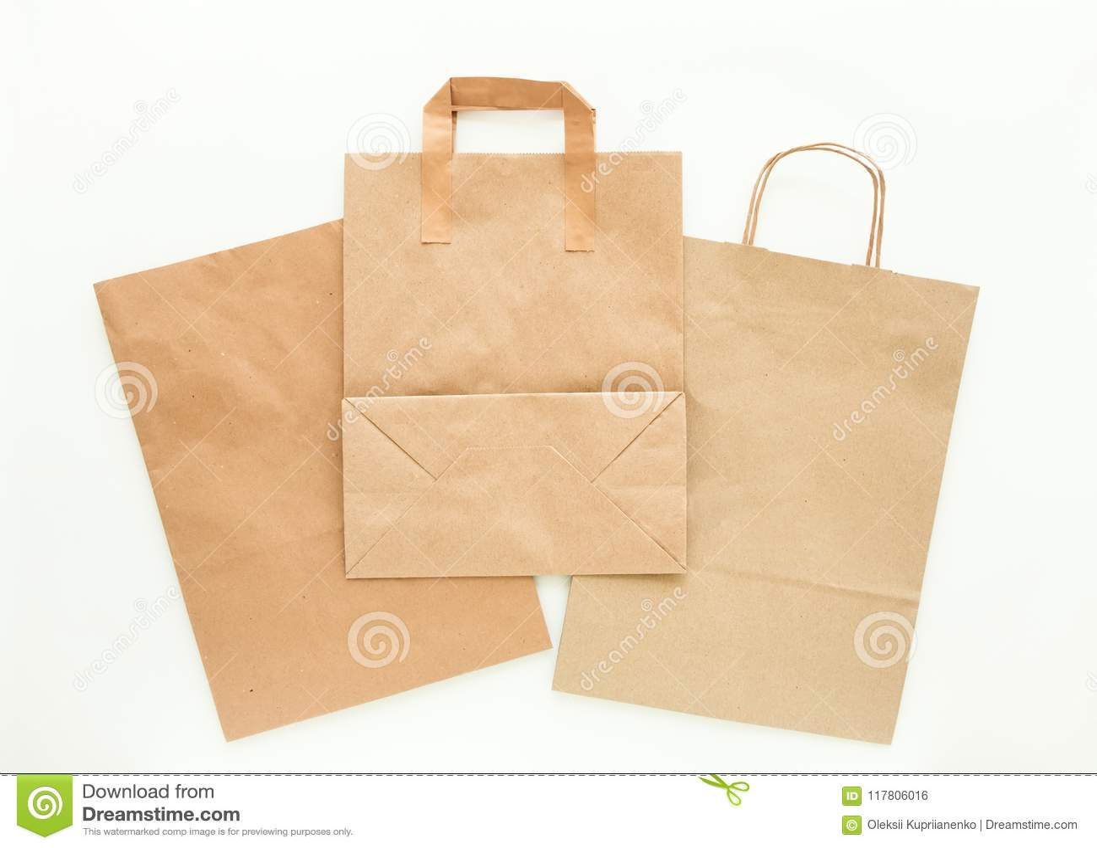 Set brown eco papierowe torby, przygotowany dla przetwarzać Zmniejsza, Reuse i Przetwarza, pojęcie Mieszkanie nieatutowy