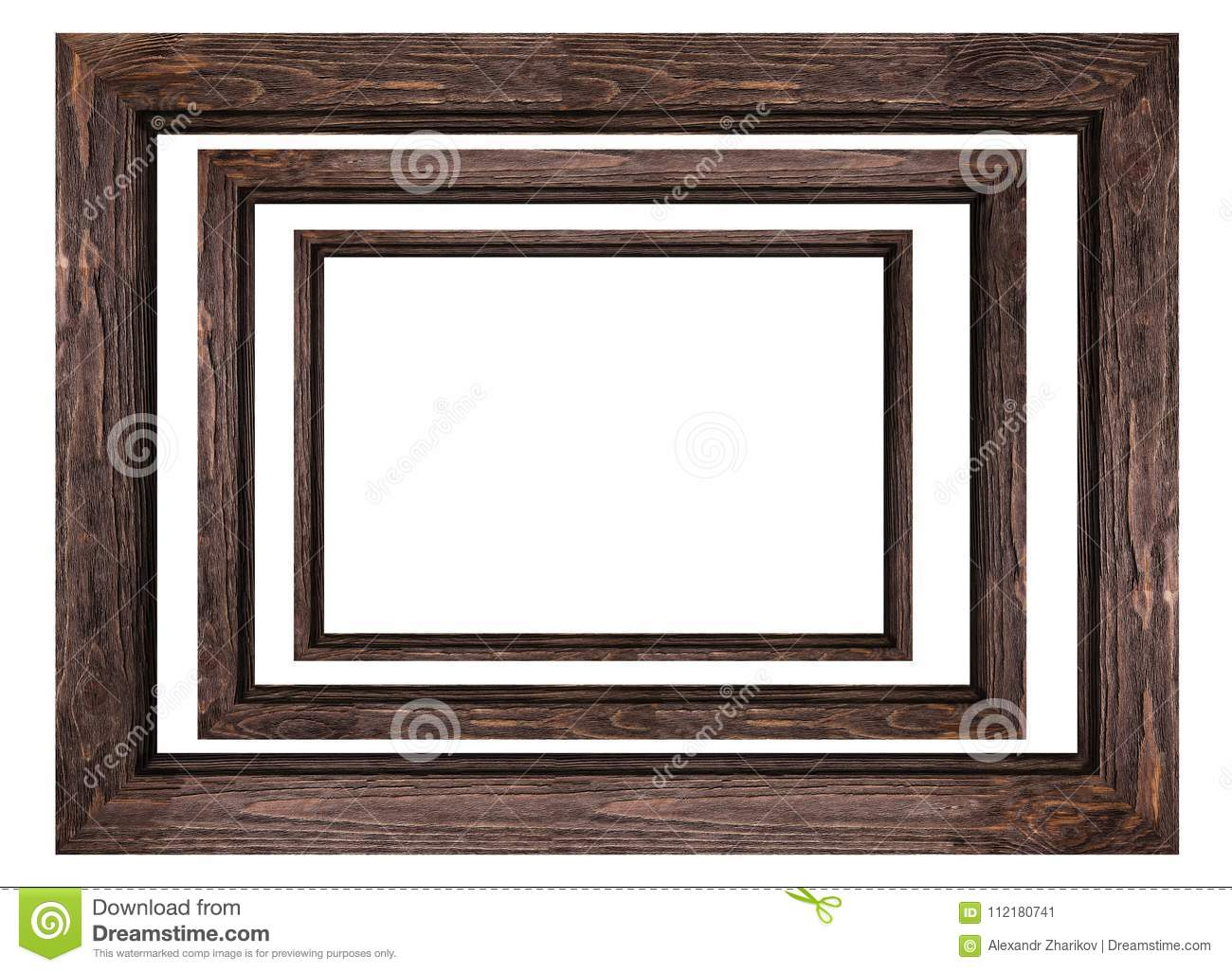 A Set Of Brown Wooden Frames For Pictures And Photos Isolated On ...
