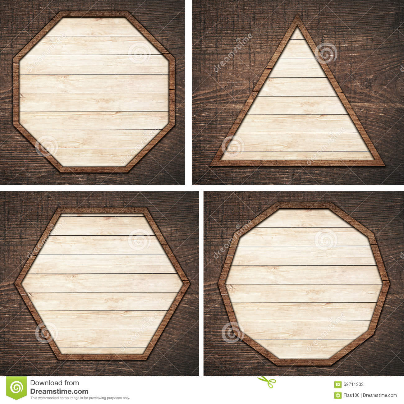 Set of brown wooden signboard, plate, planks and