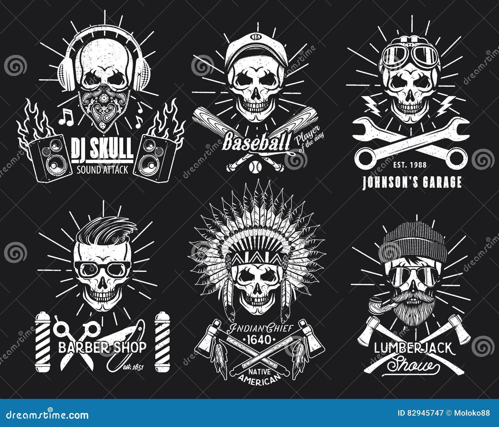 Set of Brutal Skulls. stock vector. Image of emblem ...