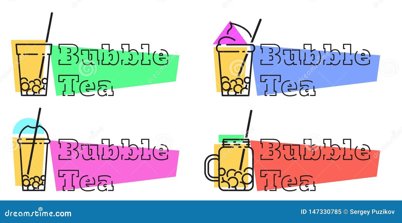 Set of bubble tea badges Vector line labels
