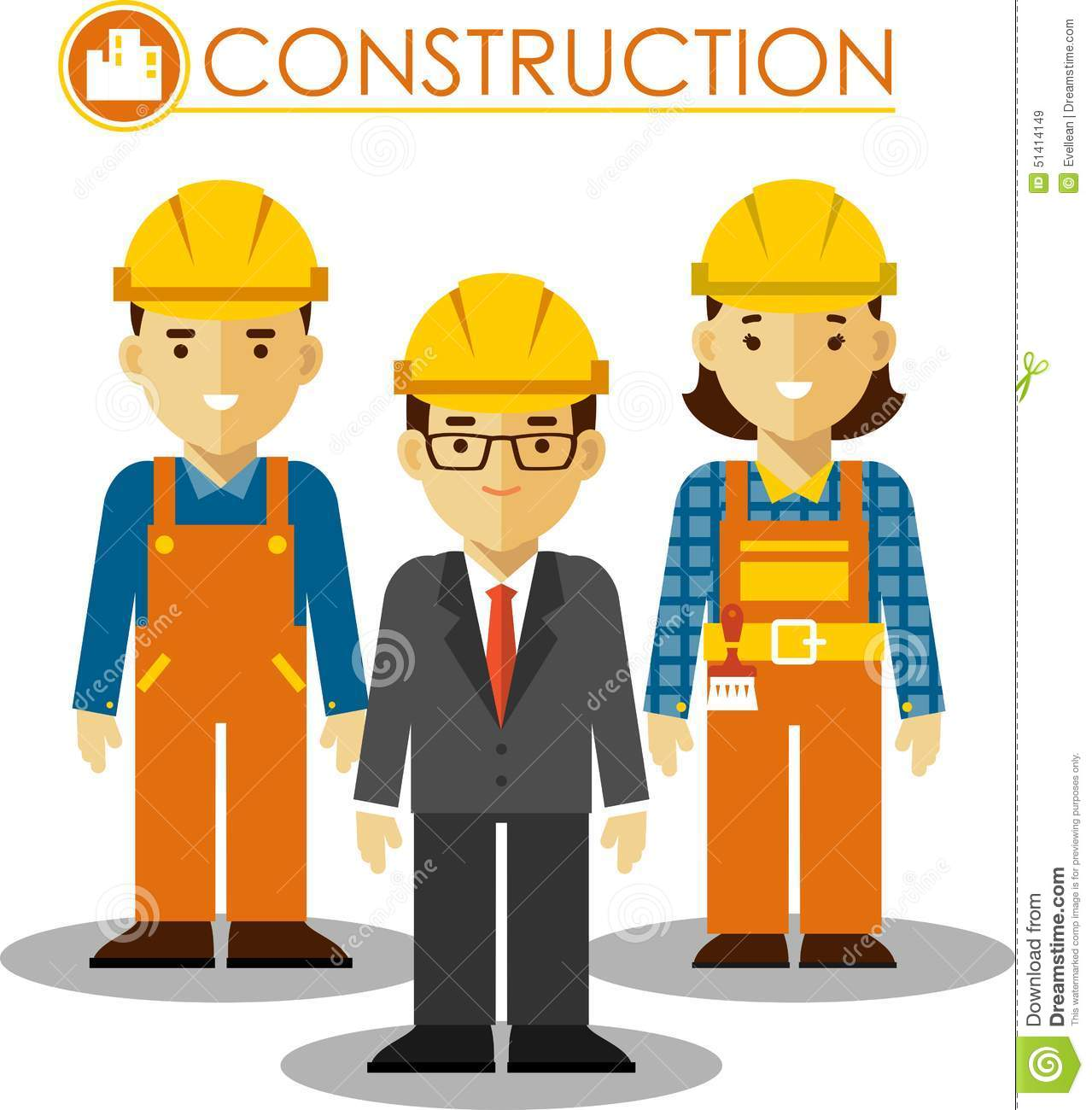 Construction Manager Cartoon : Set of builder man and woman in flat style stock vector