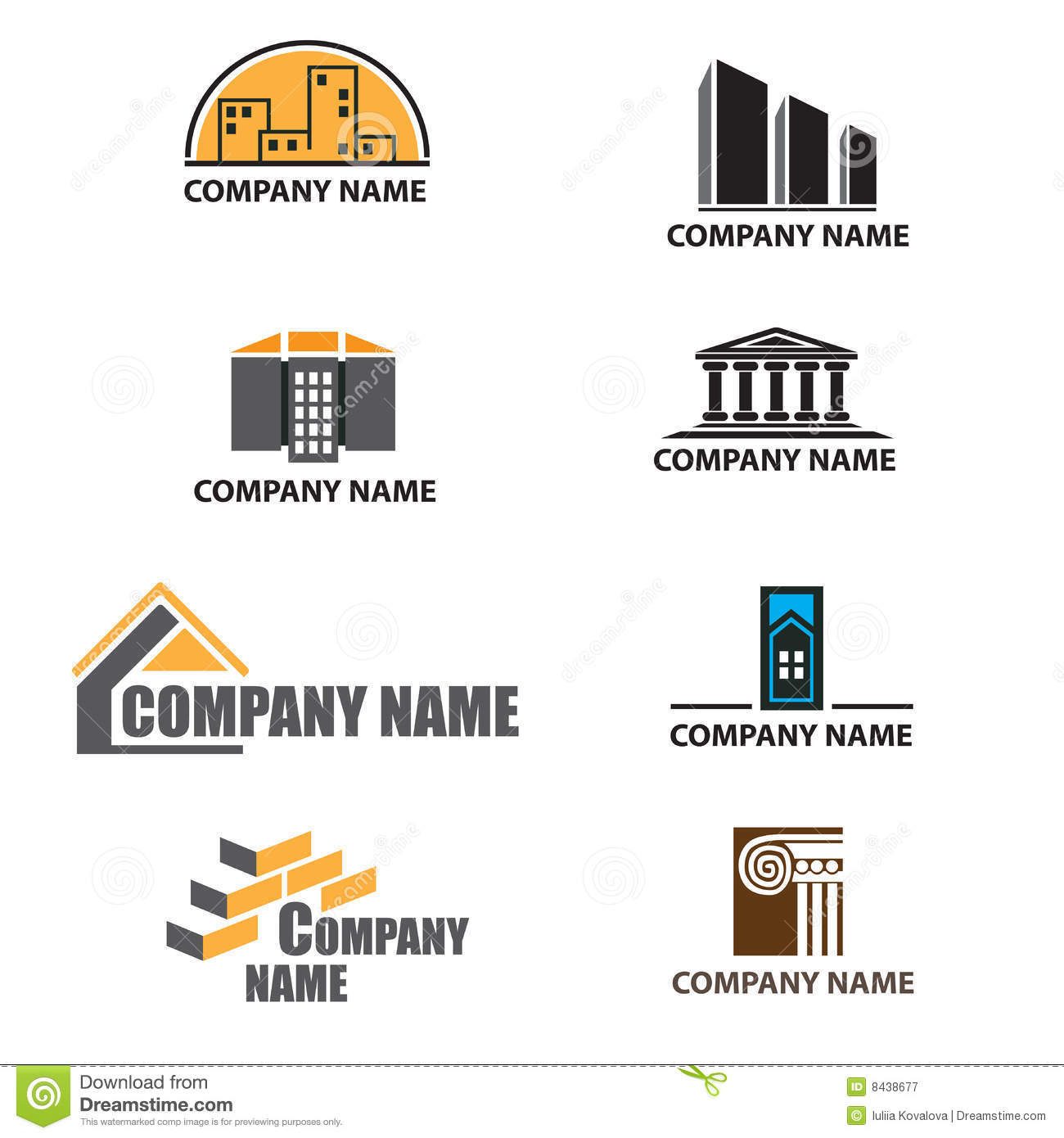 Dreams Construction Company: Set Of Building Company Logos Stock Vector