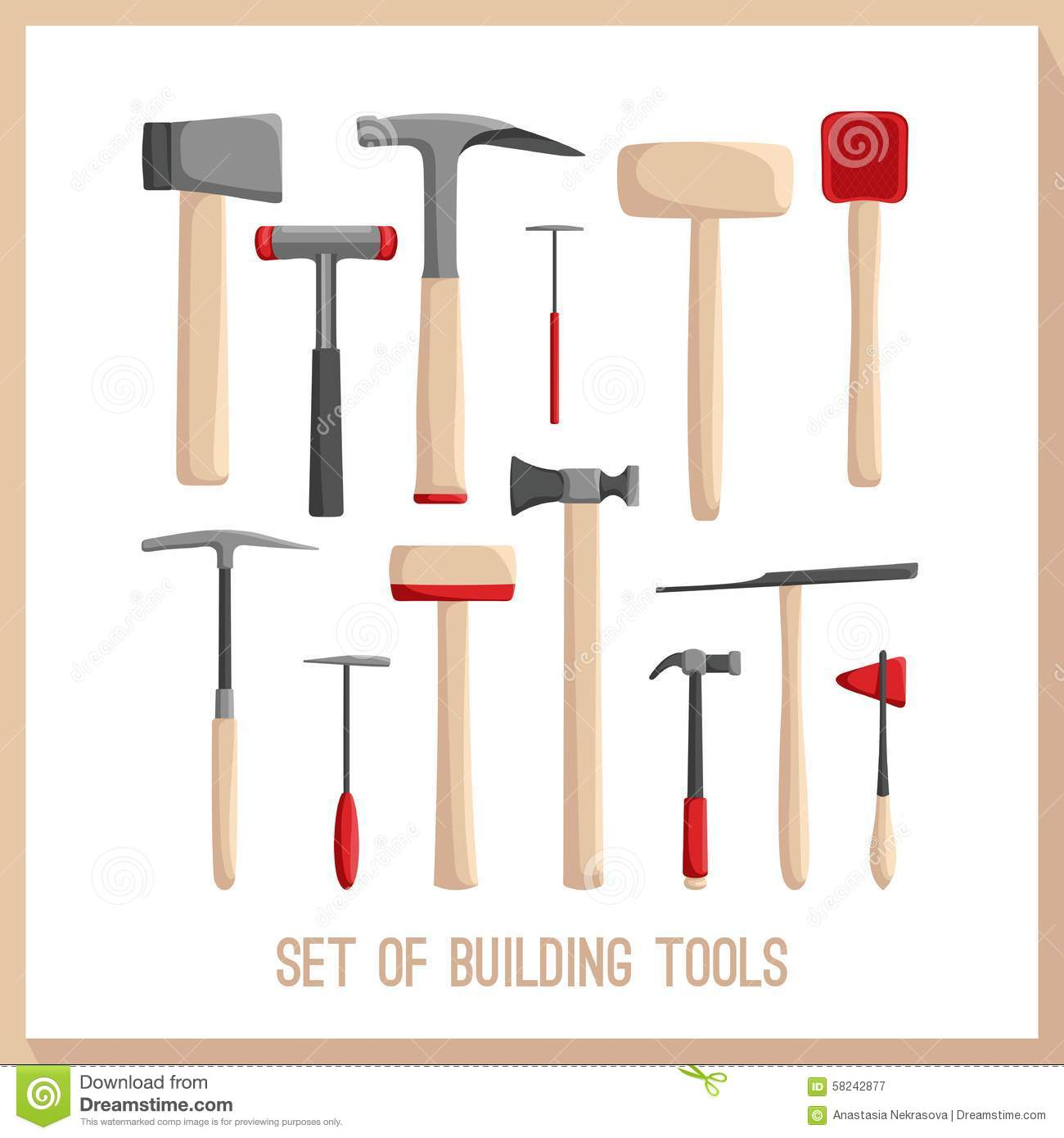 Set of building tools buildings tools icons set flat Building design tool