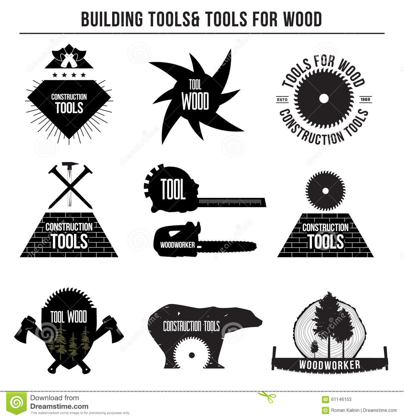 Set Of Building Tools And Tools For Wood And Logo Badges