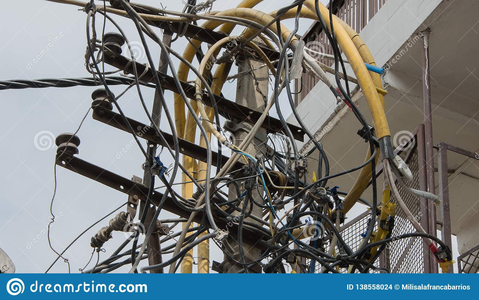 Peachy Mess Of Cables In The Power Line In India Stock Photo Image Of Wiring Digital Resources Remcakbiperorg