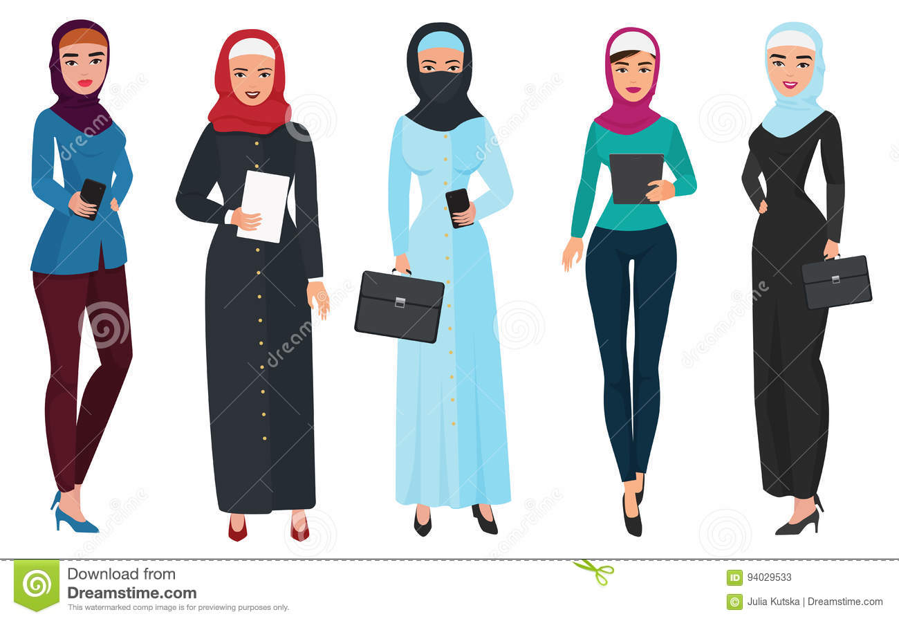 set of business arab woman character with hijab muslim