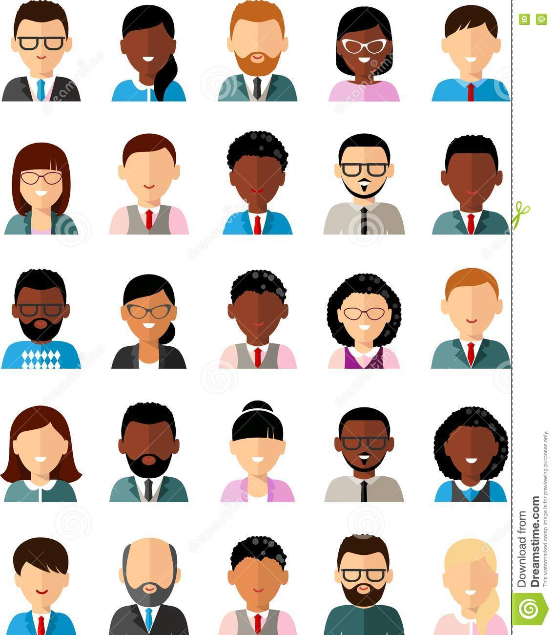 Set Of Business Avatar Peoples In Flat Colorful Style Stock