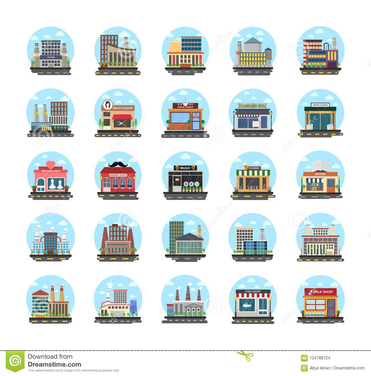 Business Buildings Flat Icons Stock Illustration Illustration Of