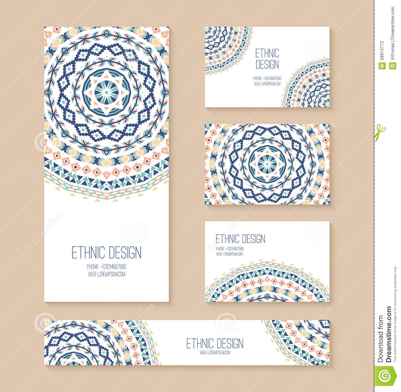 Set Of Business Card, Banner, Invitation Card Templates. Stock ...