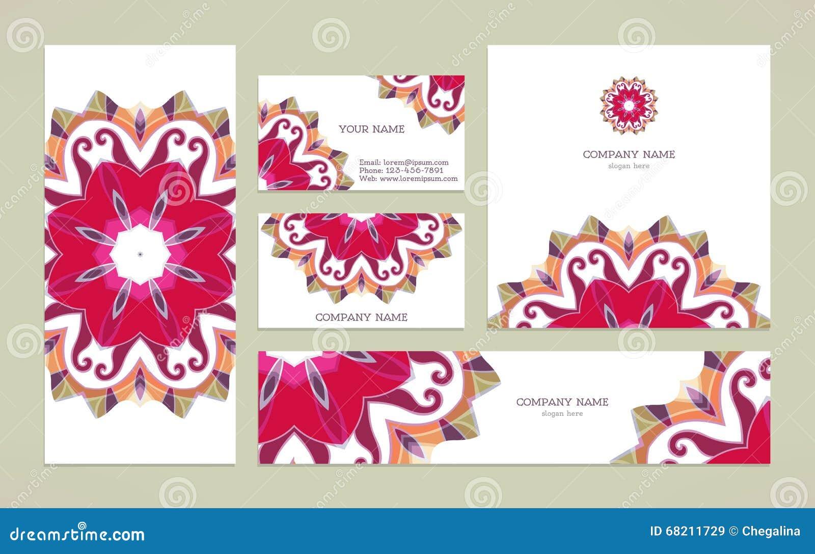 set business card with mandala stock vector