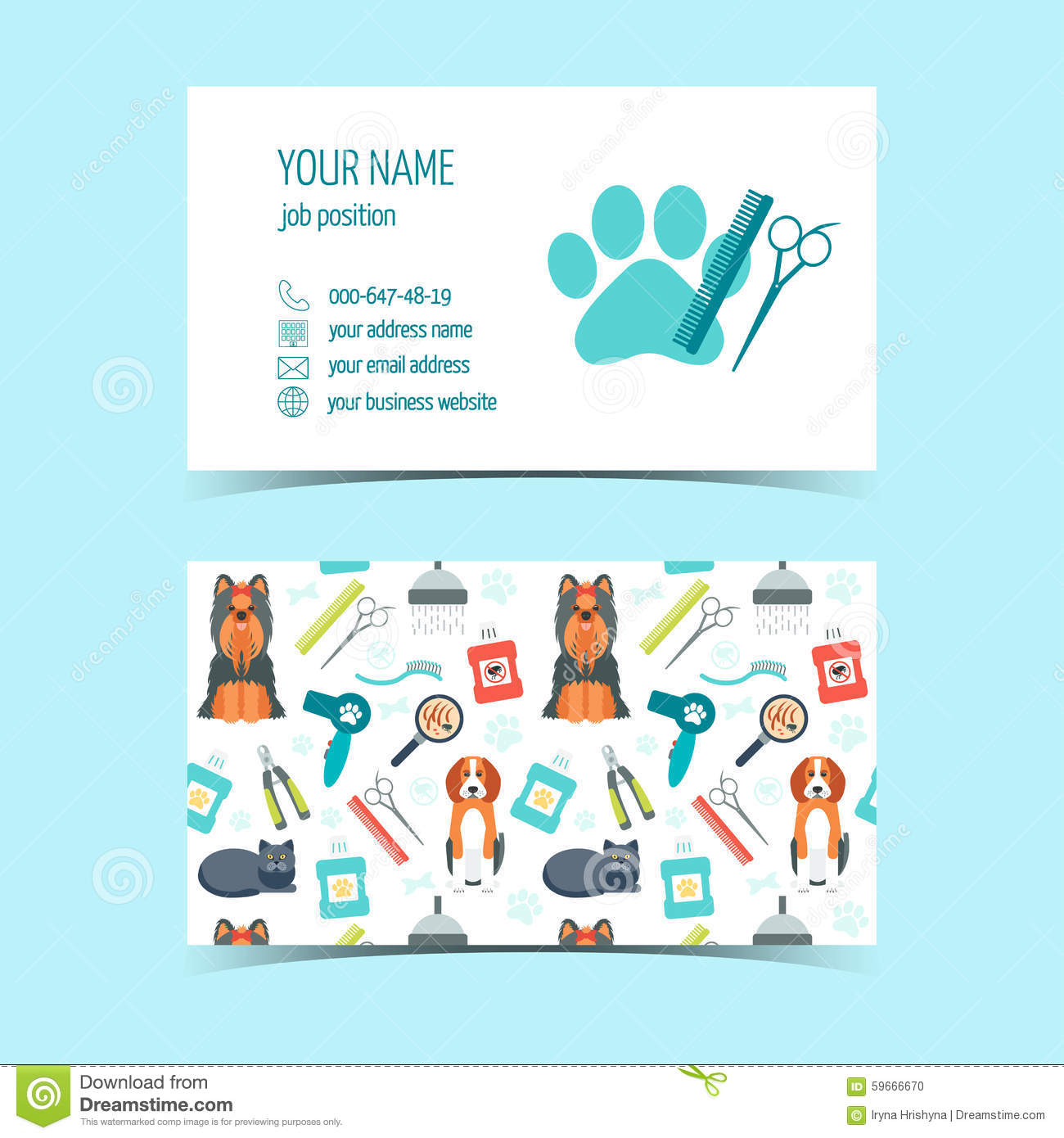 business cards for animal grooming promotional products flat