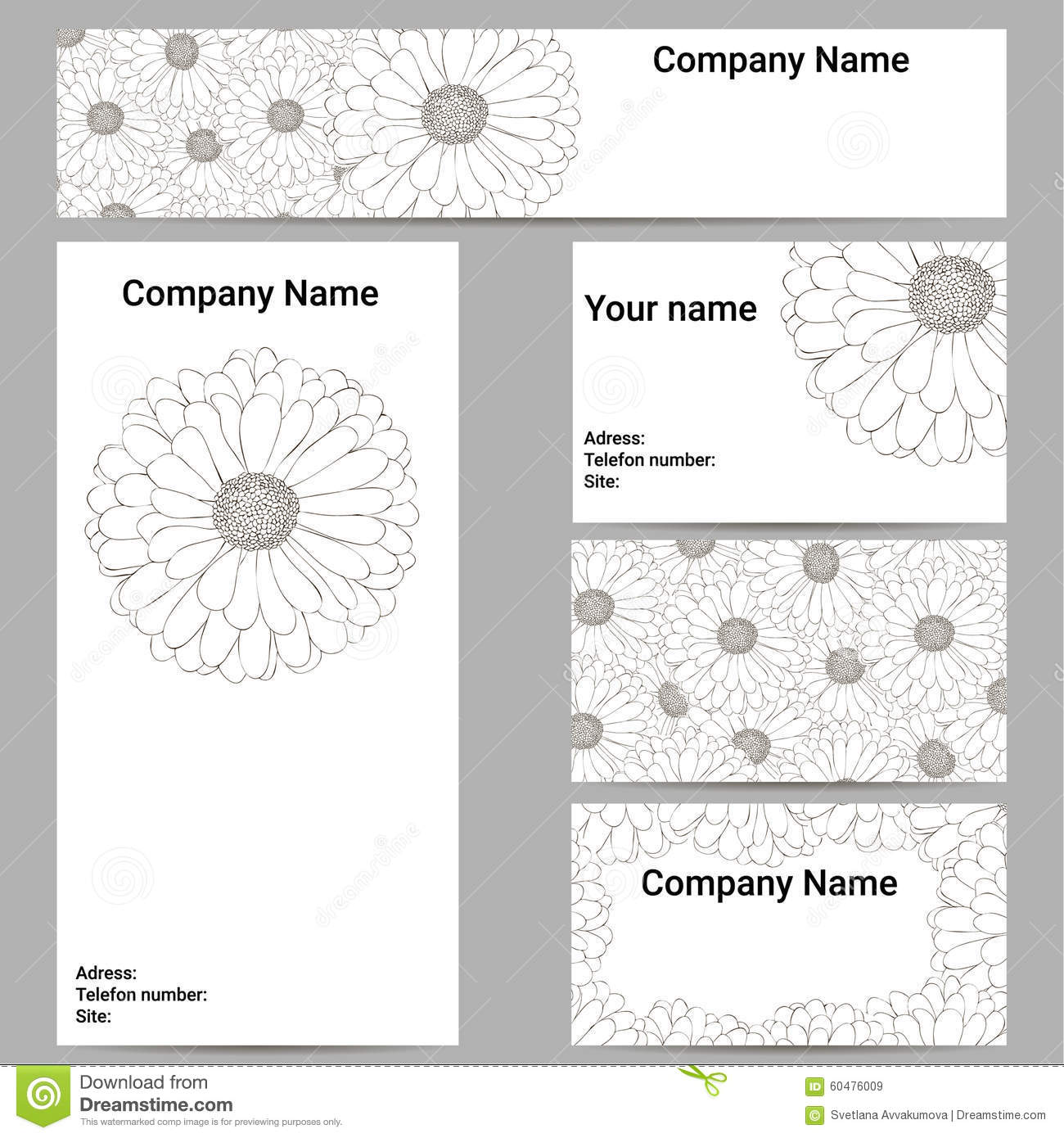 Set Of Business Cards Black And White Flower Stock Vector