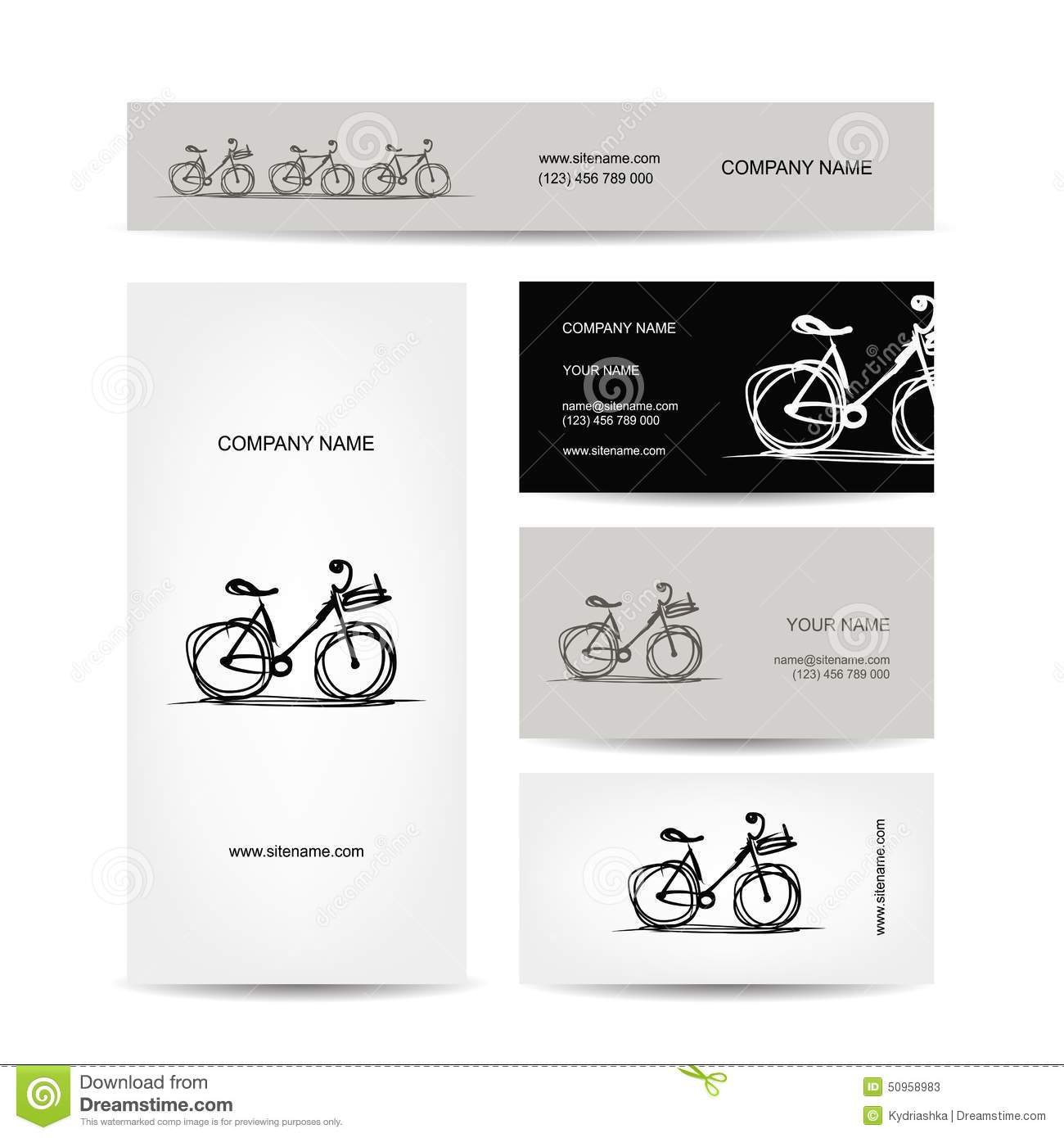 Set Of Business Cards Design With Bicycle Sketch Stock Vector ...