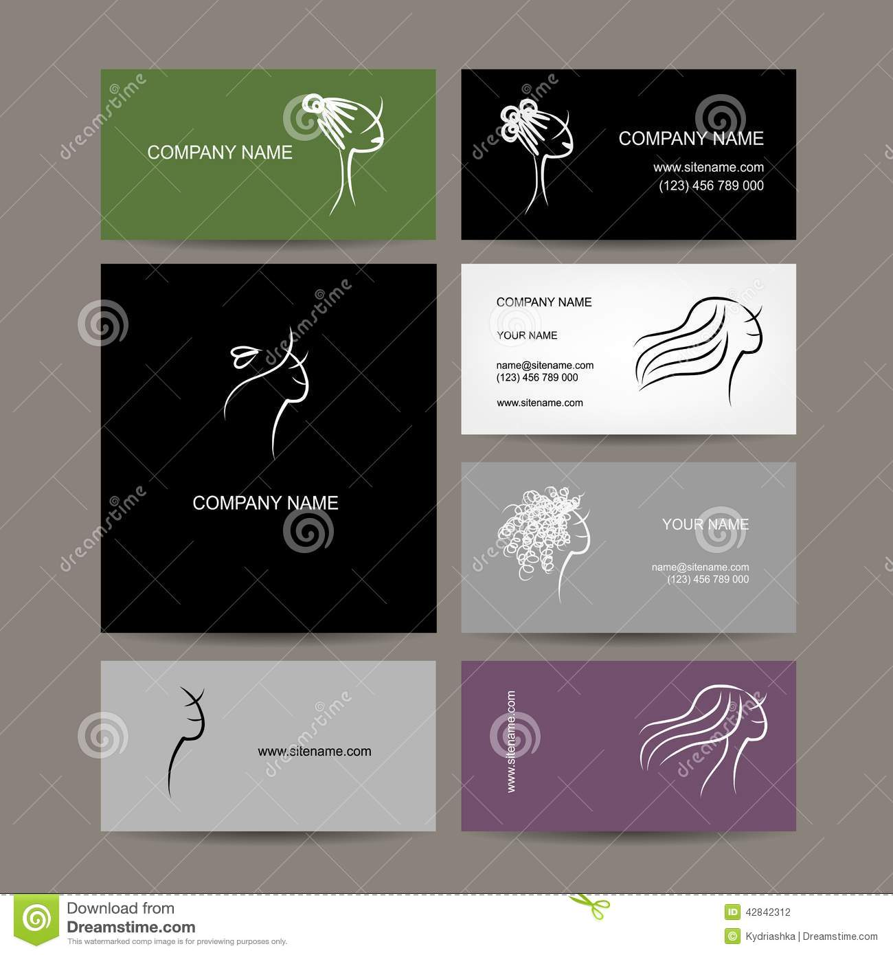 Set Of Business Cards Design, Female Hairstyle Stock Vector ...