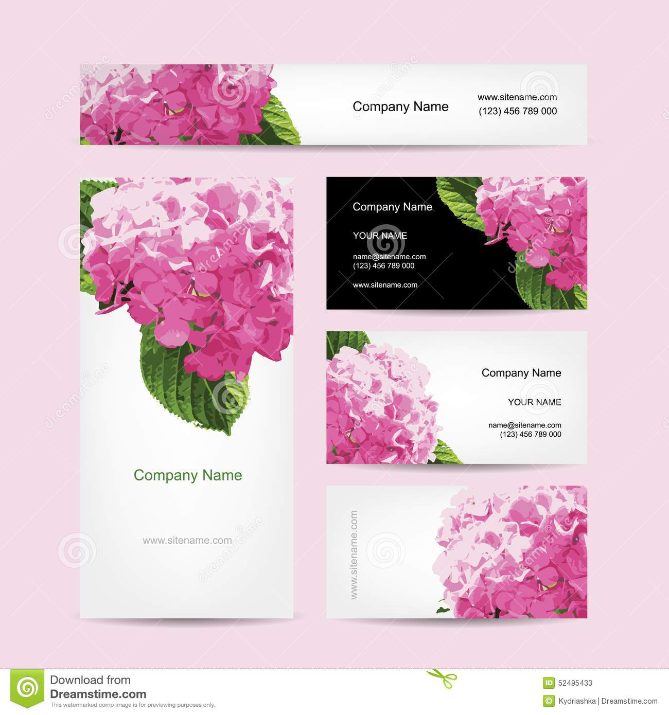 Set of business cards design with hydrangea flower stock for Flower business cards
