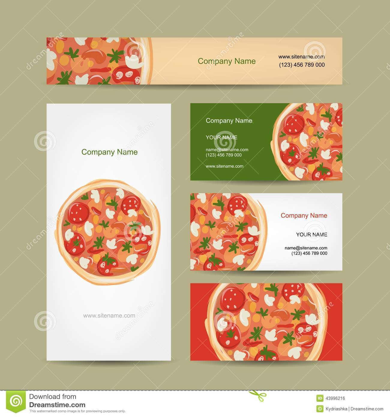 Set Of Business Cards Design With Pizza Stock Vector - Illustration ...