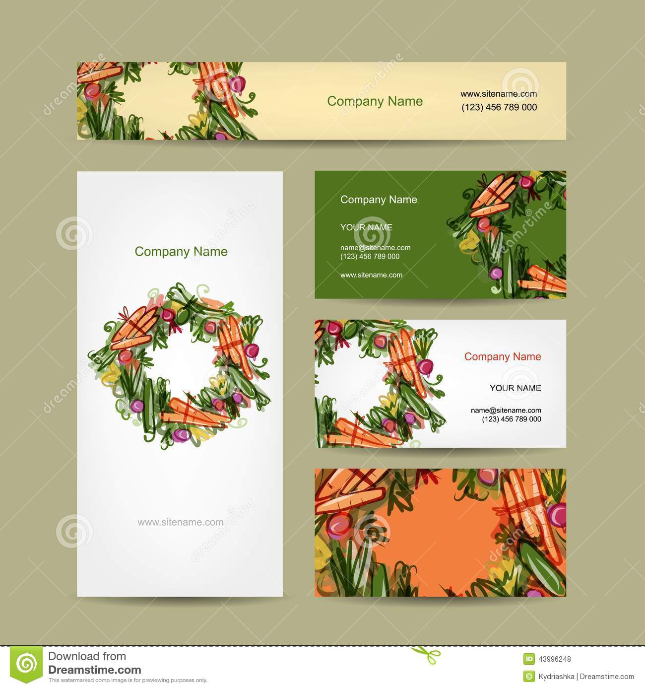 Set of business cards design with vegetable frame stock vector set of business cards design with vegetable frame magicingreecefo Gallery