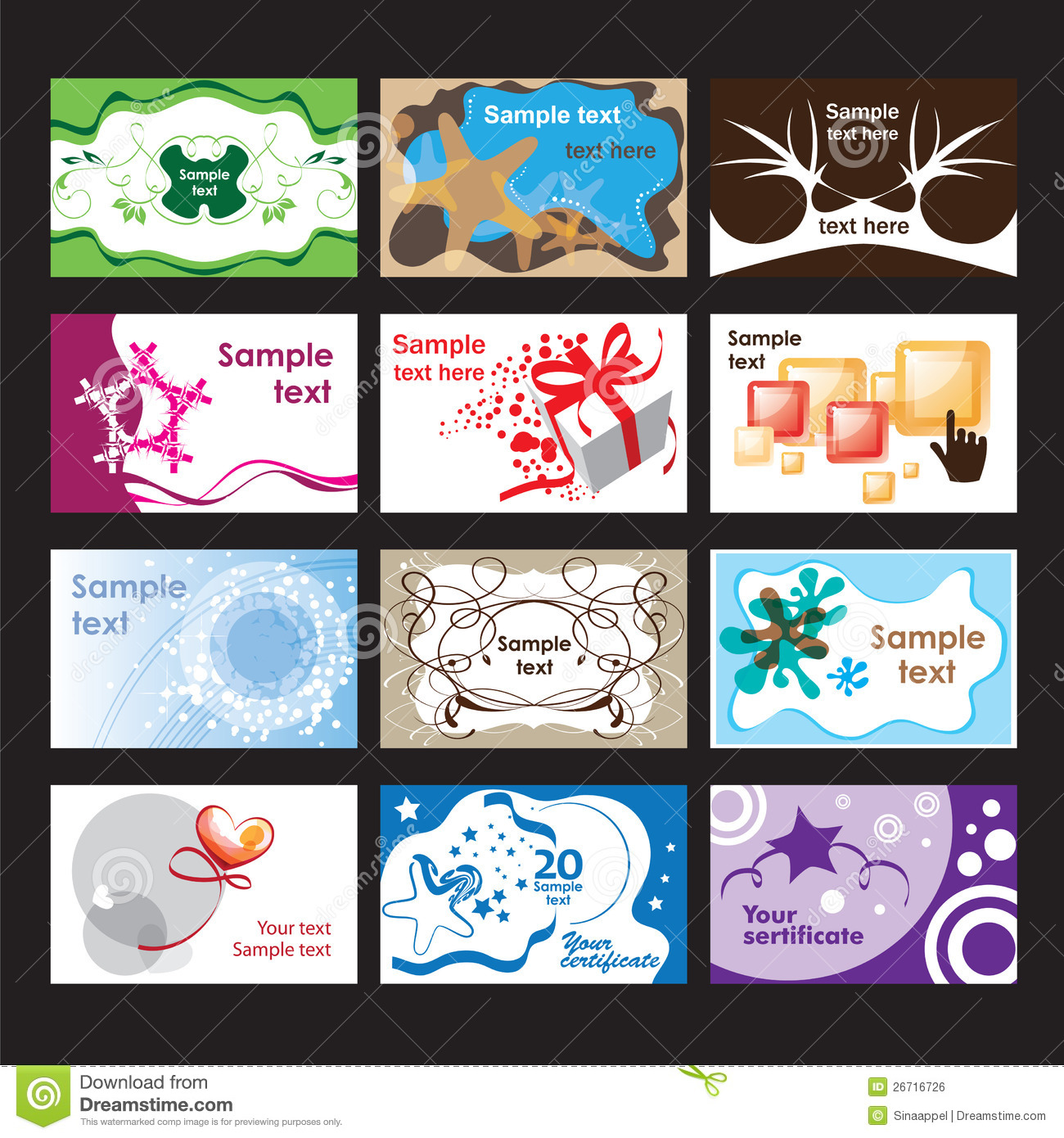 Set Of Business Cards On Different Topics Royalty Free